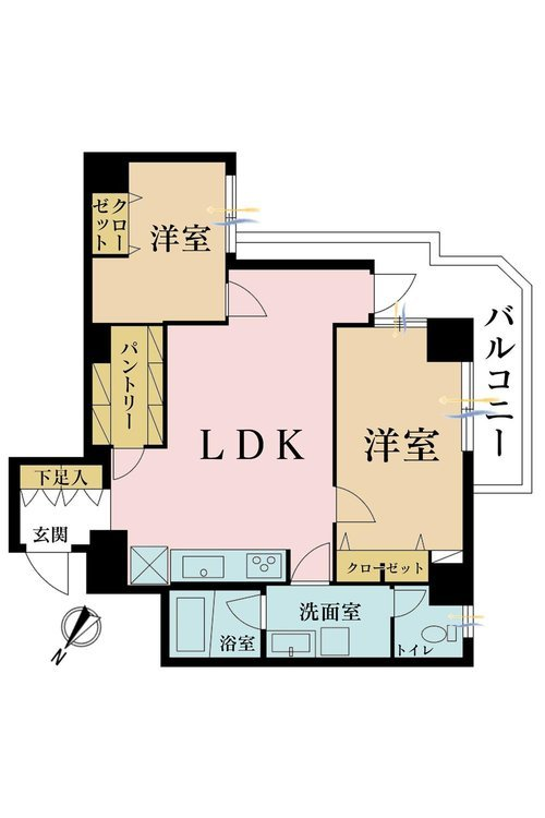 2LDK、価格5680万円、専有面積59.7m2、バルコニー面積1m2