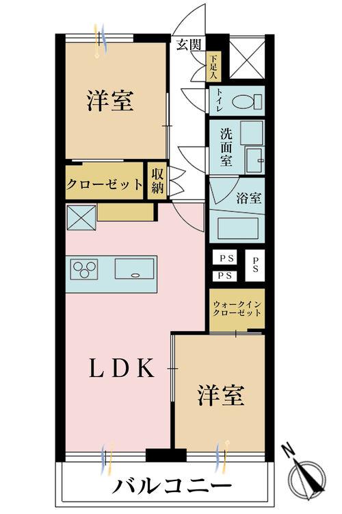 2LDK、価格5680万円、専有面積51.43m2、バルコニー面積4.14m2