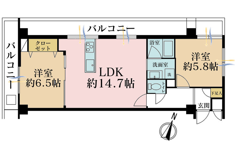 2LDK、価格3890万円、専有面積59.34m2、バルコニー面積5.7m2