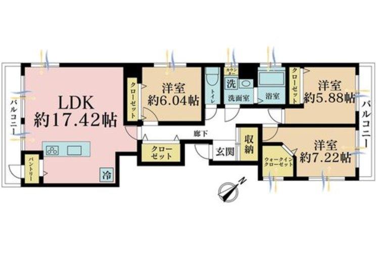 3LDK、価格4180万円、専有面積81.82m2、バルコニー面積10.7m2