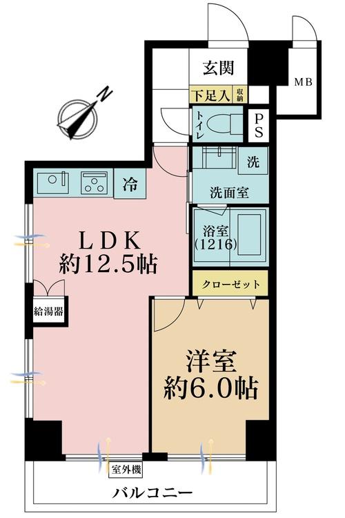 1LDK、価格3280万円、専有面積44.56m2、バルコニー面積5.98m2