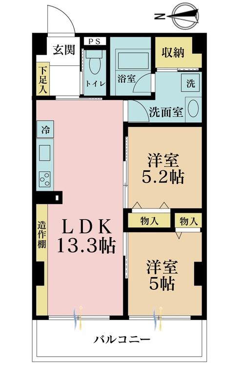 2LDK、価格3880万円、専有面積52.6m2