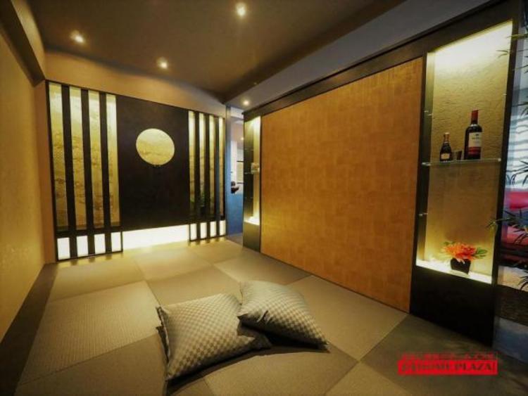 落ちついた色合いの琉球畳のザ・モダン和室。客間としてご使用いただけます。