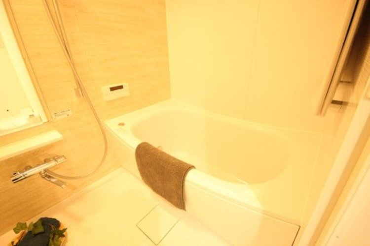 高級感溢れるカラーと大きさ。柔らかな曲線で構成された半身浴も楽しめるバスタブが心地よさをもたらします。 ≫