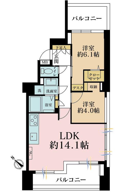 2LDK、価格7090万円、専有面積57.07m2、バルコニー面積16.48m2
