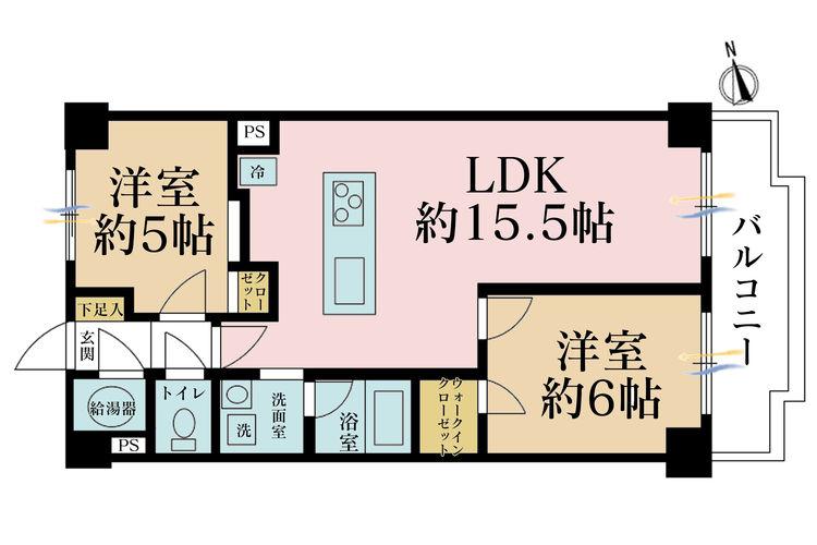 2LDK、価格3980万円、専有面積58.21m2、バルコニー面積7.39m2