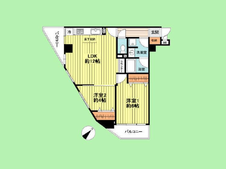 専有面積54.66平米 バルコニー3.4平米