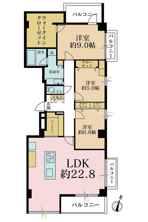 3LDK、価格1億580万円、専有面積116.28m2、バルコニー面積10.8m2