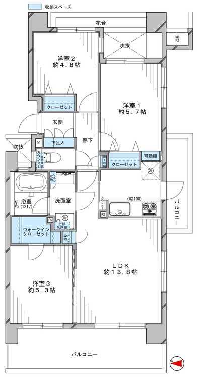 アウトフレーム設計を採用しており、柱のないすっきりとした室内です