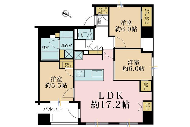 3LDK、価格9800万円、専有面積74.8m2、バルコニー面積5.88m2
