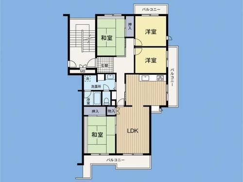 グリーンヒル鴨志田西団地5号棟 「青葉台」駅 最上階・眺望良好♪の間取り