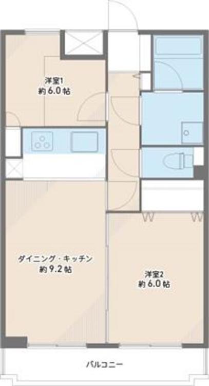 専有面積:52.20?、バルコニー4.62? 2DKのお部屋です。南東向きの為陽当りも良好です。