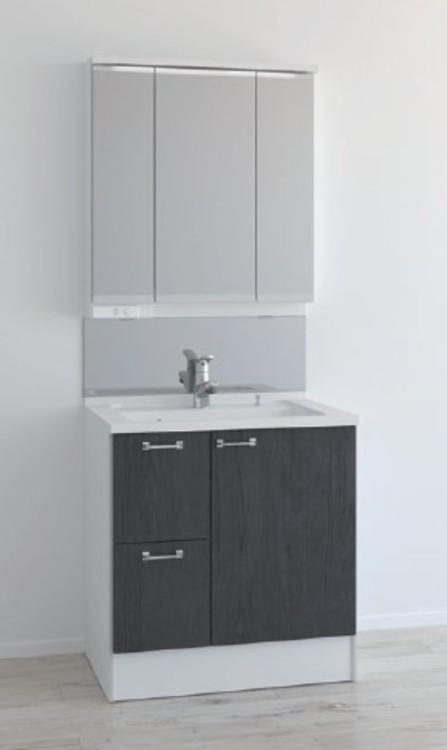 暮らしにフィットする、美しい洗面台。薄型のLED照明で空間をすっきり。中央の鏡は曇り止めコート付です