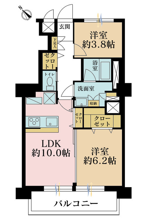 2LDK、価格2890万円、専有面積51.95m2、バルコニー面積8.04m2