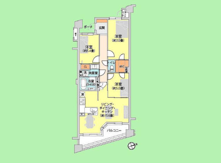 3LDK 専有面積74.74平米 バルコニー面積9.14平米