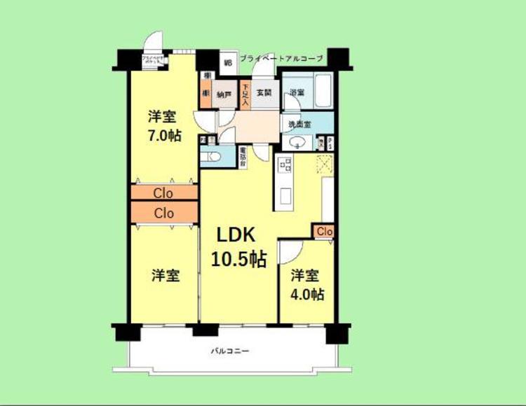 3LDK 専有面積70.35平米 バルコニー面積13.76平米