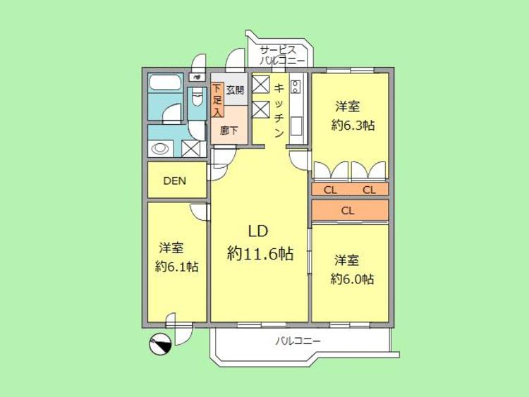 3LDK+フリースペース 専有面積75.60平米、バルコニー面積8.41平米