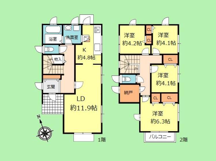 4SLDK 建物面積95.89平米 土地面積165.09平米