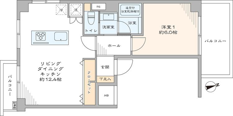 3方角部屋で、リビングダイニングが生活の中心となる1LDKの住戸。