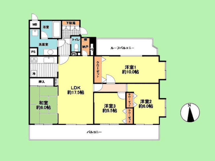 4SLDK 専有面積99.60平米、バルコニー面積27.42平米