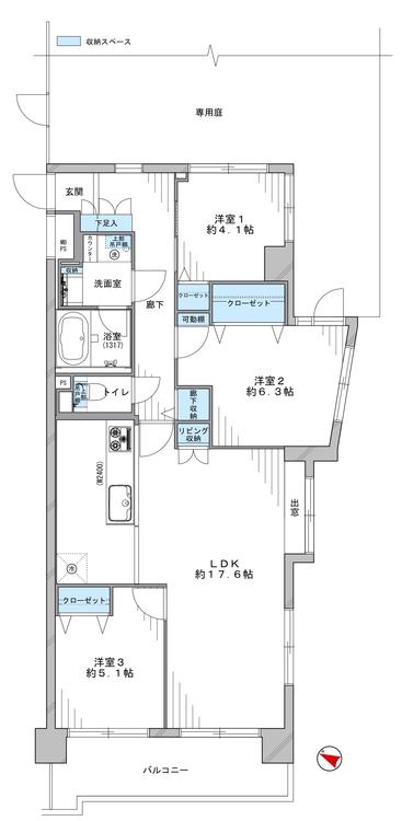 3方角部屋の開放感溢れる空間は、3LDKのファミリータイプ