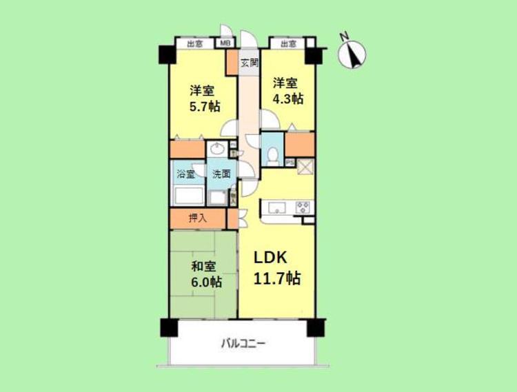 3LDK 専有面積62.99平米 バルコニー面積11.02平米