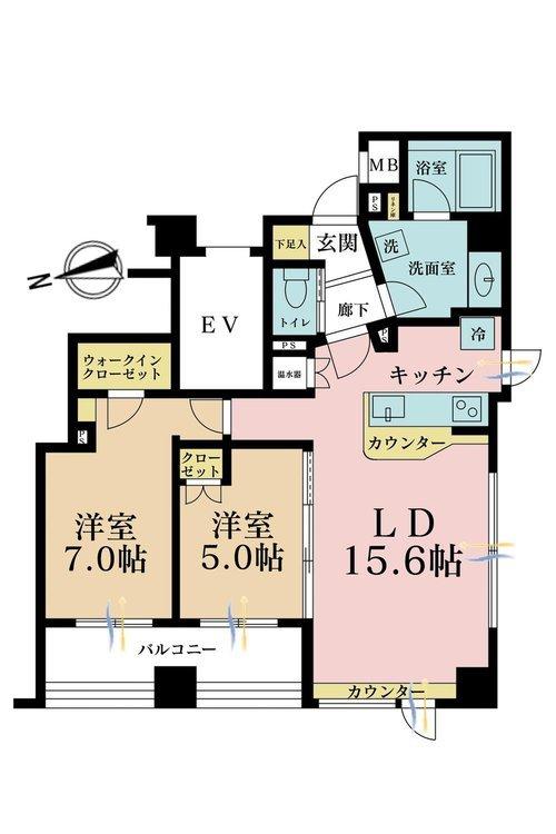 2LDK、価格6490万円、専有面積63.59m2、バルコニー面積7.5m2