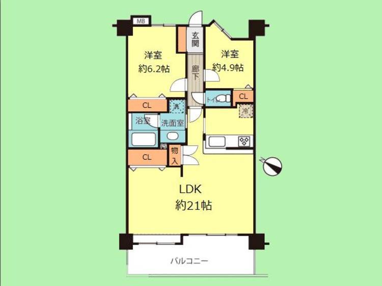 2LDK 専有面積69.81平米、バルコニー面積10.89平米