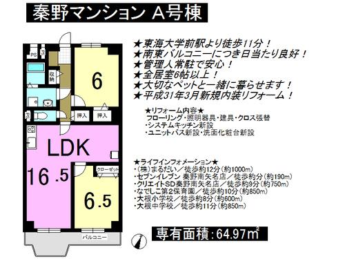 秦野マンションA号棟 2LDKの物件画像