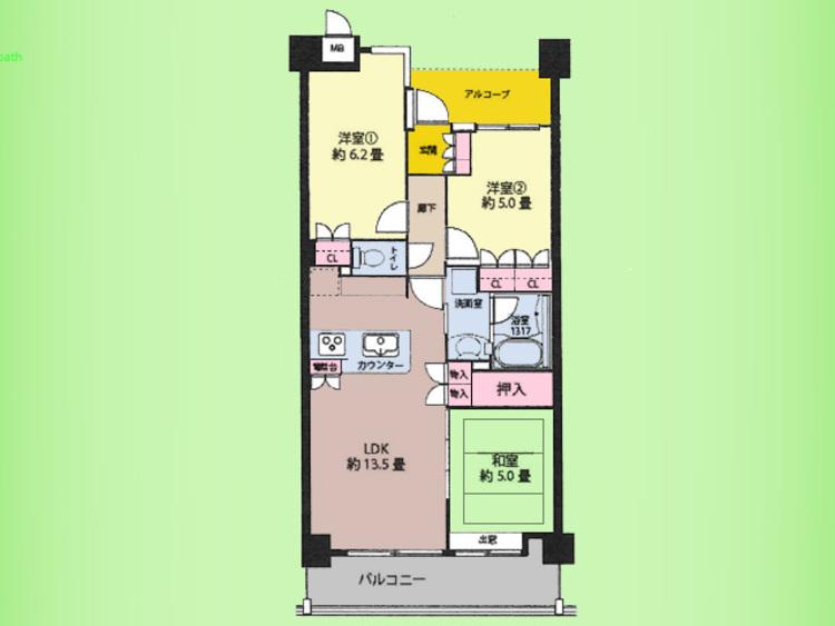 3LDK、専有面積63.55平米、バルコニー面積9.61平米