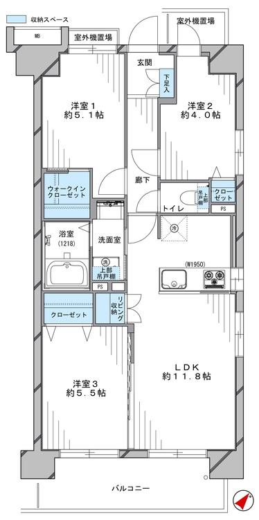 開口部が多い3方角部屋で、通風良好です