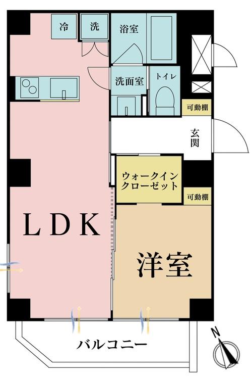 1LDK、価格3490万円、専有面積43.74m2、バルコニー面積3.84m2