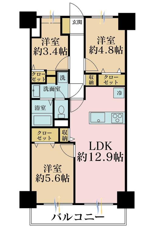 3LDK、価格3499万円、専有面積61.6m2、バルコニー面積6.72m2