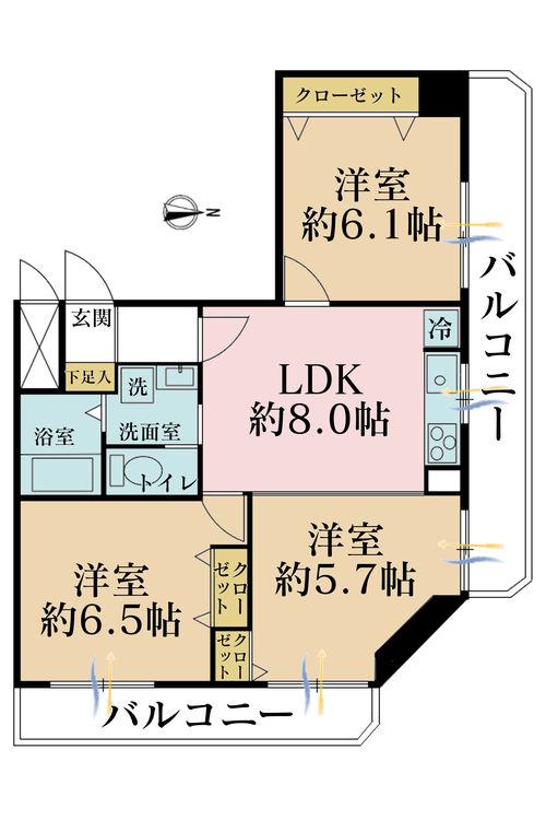 3LDK、価格3799万円、専有面積62.95m2、バルコニー面積12.65m2