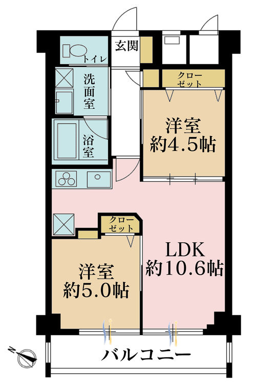 2LDK、価格2990万円、専有面積49.05m2、バルコニー面積5.99m2