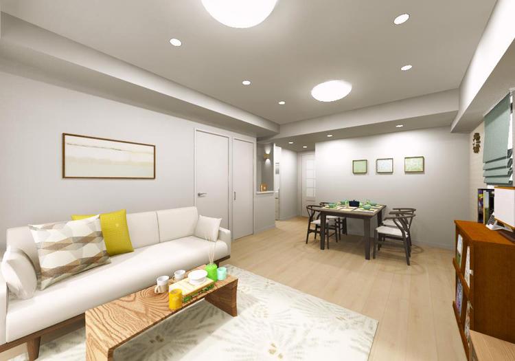 縦長のLDは、開放的な上質空間を演出。大きめの家具もゆったりレイアウトできます