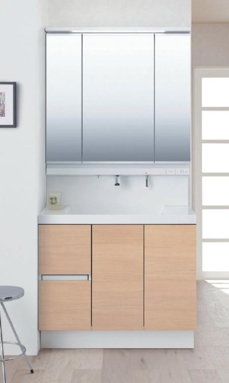 手間をかけずにキレイにできる清掃性と大容量収納を実現した洗面化粧台