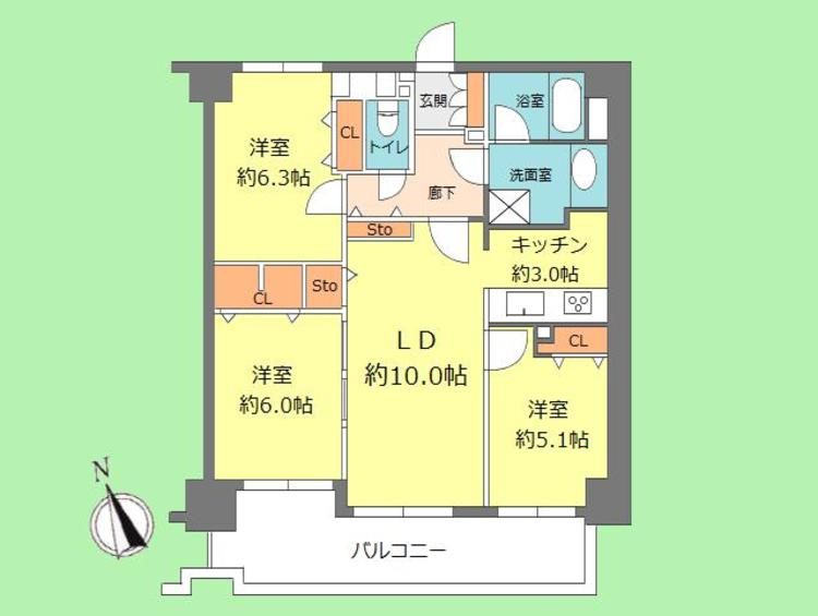 3LDK 専有面積70.70平米、バルコニー面積12.67平米