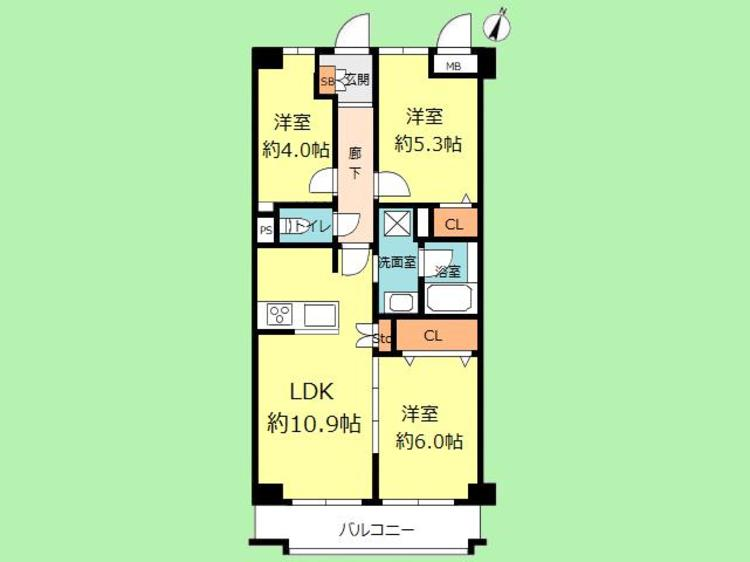 3LDK 専有面積60.50平米、バルコニー面積6.40平米