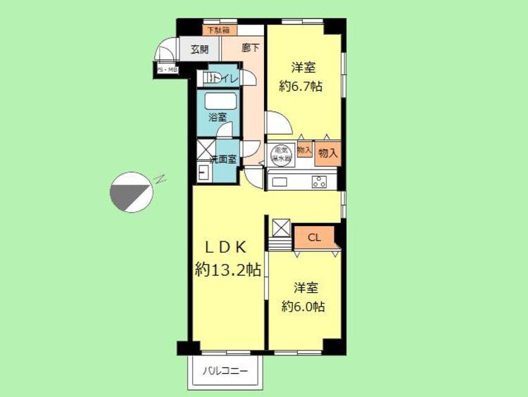 2LDK 専有面積63.16平米、バルコニー面積3.00平米