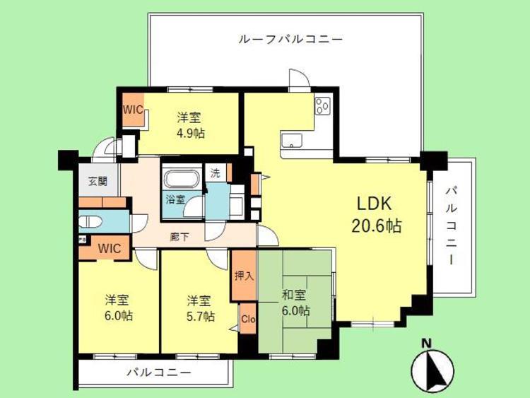 4LDK 専有面積94.95平米、バルコニー面積43.34平米