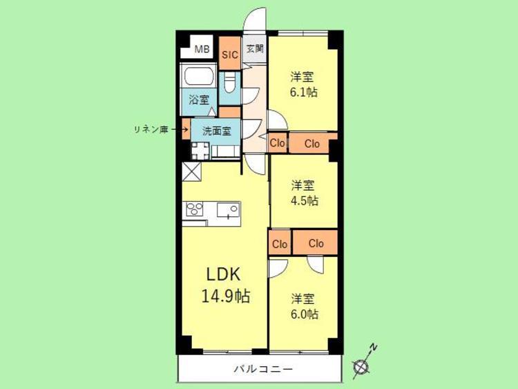 3LDK 専有面積67.28平米 バルコニー面積5.33平米