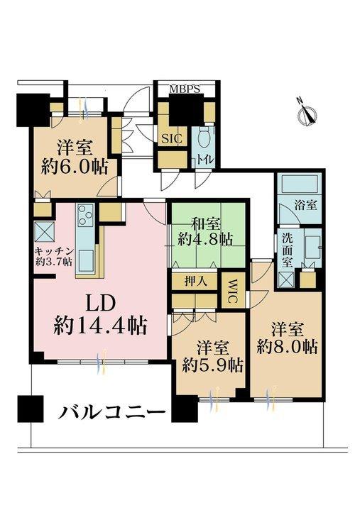 4LDK、価格9598万円、専有面積103.15m2、バルコニー面積27.92m2