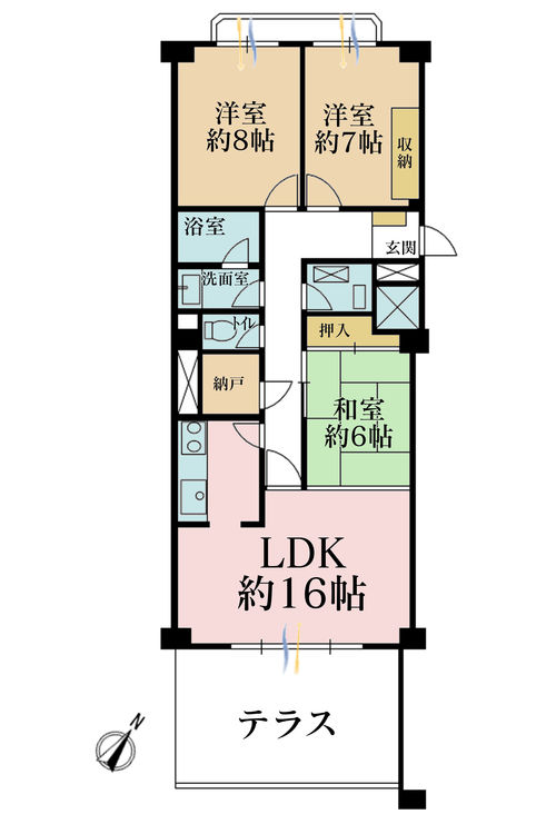 3LDK+S(納戸)、価格6180万円、専有面積88.75m2