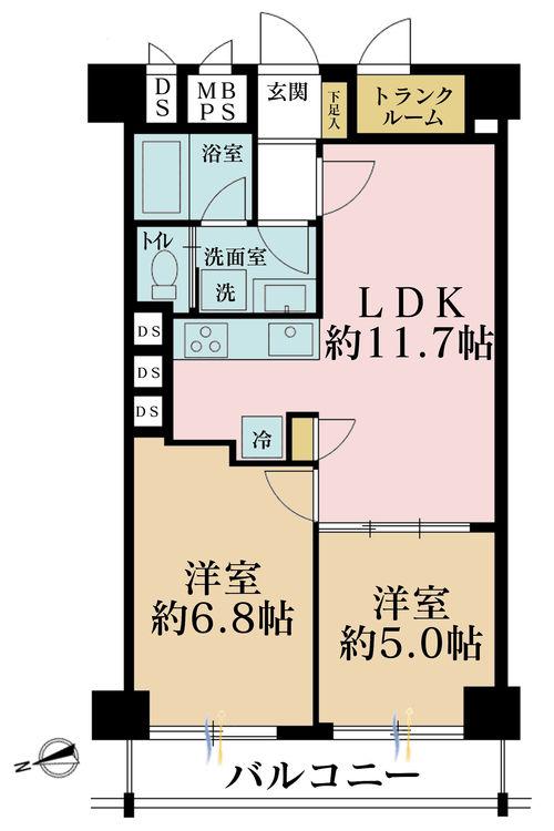 2LDK、価格2790万円、専有面積51.84m2、バルコニー面積5.4m2