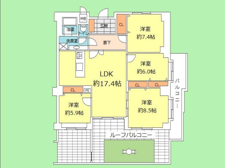 4LDK 専有面積102.98平米 バルコニー面積42.01平米
