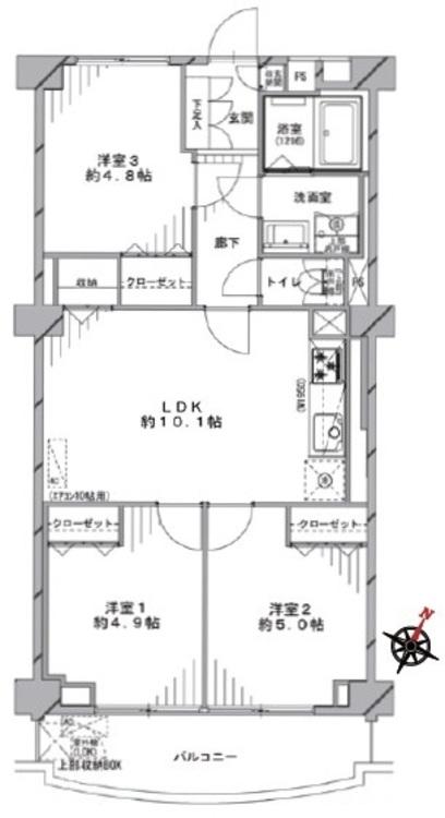 全居室に収納あり。約2平米のトランクルームも利用できるので、室内すっきり片付きます