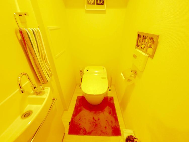 トイレにも収納を確保。もちろん手洗い付きです。