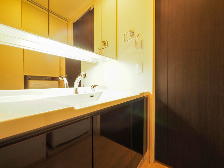 三面鏡の中やベースキャビネットには収納スペースもたっぷり。手入れしやすい洗面台なので、お掃除もらくらくです。