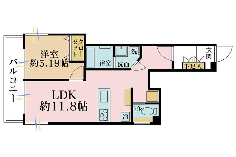 1LDK、価格2299万円、専有面積43.74m2、バルコニー面積6.99m2
